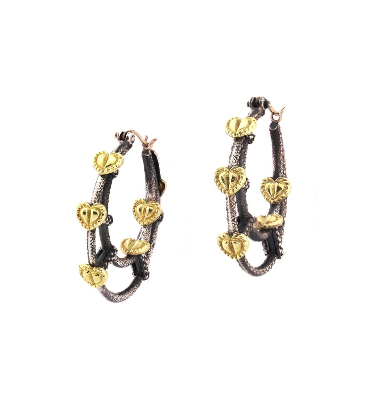 Double Hoop Heart Earrings with Sterling Silver and Gold Stambolian For Sale