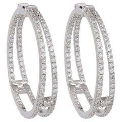 Double Hoop Inside Out Diamond 18 Karat Gold Earrings