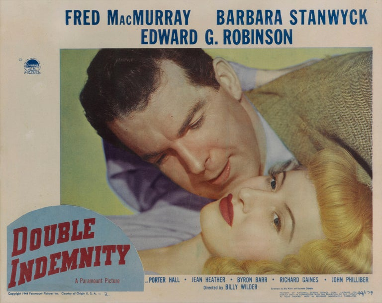 Original US lobby card for Double Indemnity 1944. This film noir was directed by Billy Wilder and co-written by Wilder and Raymond Chandler. The film stars Fred MacMurray as an insurance salesman, Barbara Stanwyck as a seductive wife who wishes her