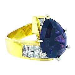 Double, Invisible Princess Diamond and 5 Carat Brazilian Amethyst, 18 Karat Ring
