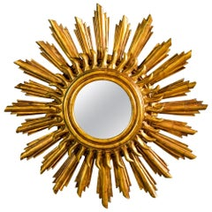 Double Layer Giltwood Sunburst Mirror
