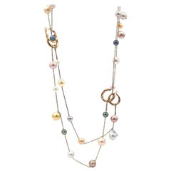 Double Layer Multi-Color Pearl and 18 Karat White and Yellow Gold Chain Necklace