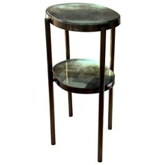 Double Layered Handcrafted Glass and Bronze Patina Brass Side Accent Table