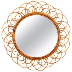 Rattan Sunburst Flower Double Layered Mirror, 1960s Midcentury French Riviera