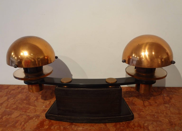 Art Deco Double Leather and Wood Table Lamp, 1930s, by Paul Dupré-Lafon For Sale