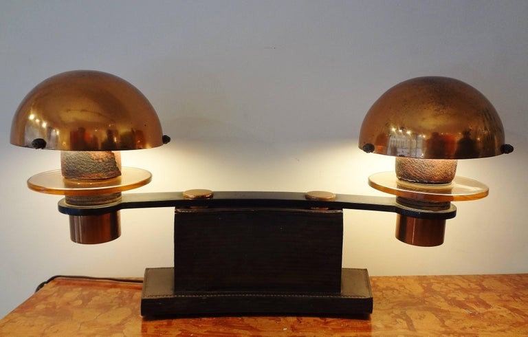 French Double Leather and Wood Table Lamp, 1930s, by Paul Dupré-Lafon For Sale