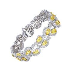 Double Line Fancy Yellow Pear Bracelet, 12.50 Carat