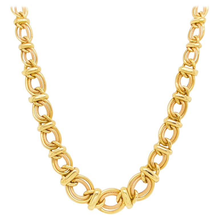Double Link Choker Chain Necklace, 14 Karat Yellow Gold, Sailor's Knot For Sale
