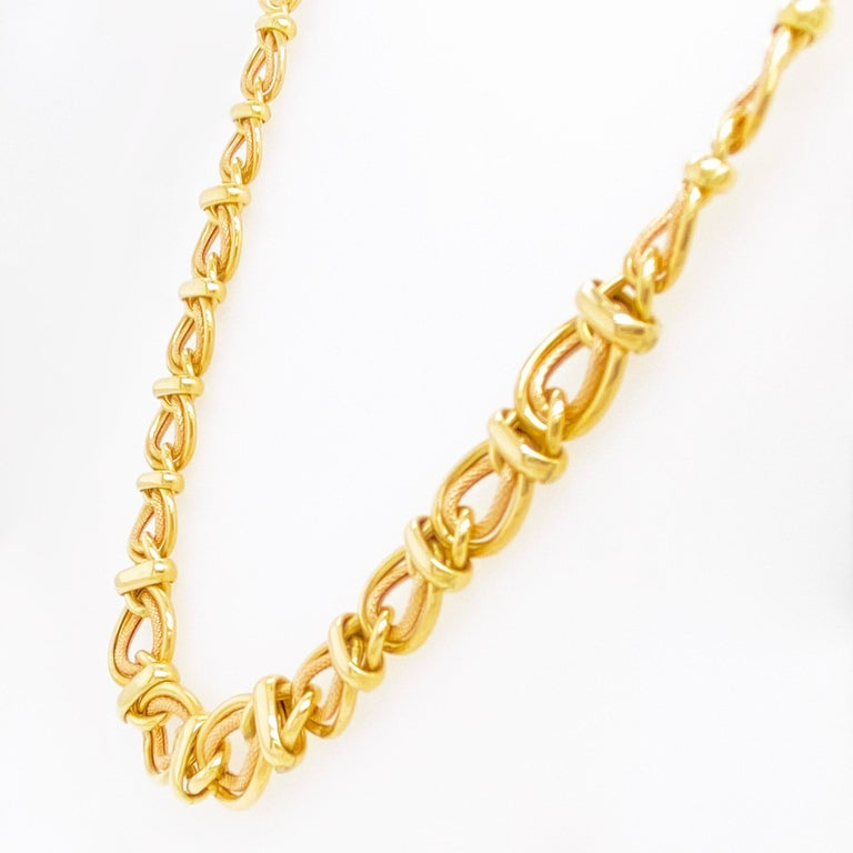 Artisan Double Link Choker Chain Necklace, 14 Karat Yellow Gold, Sailor's Knot For Sale