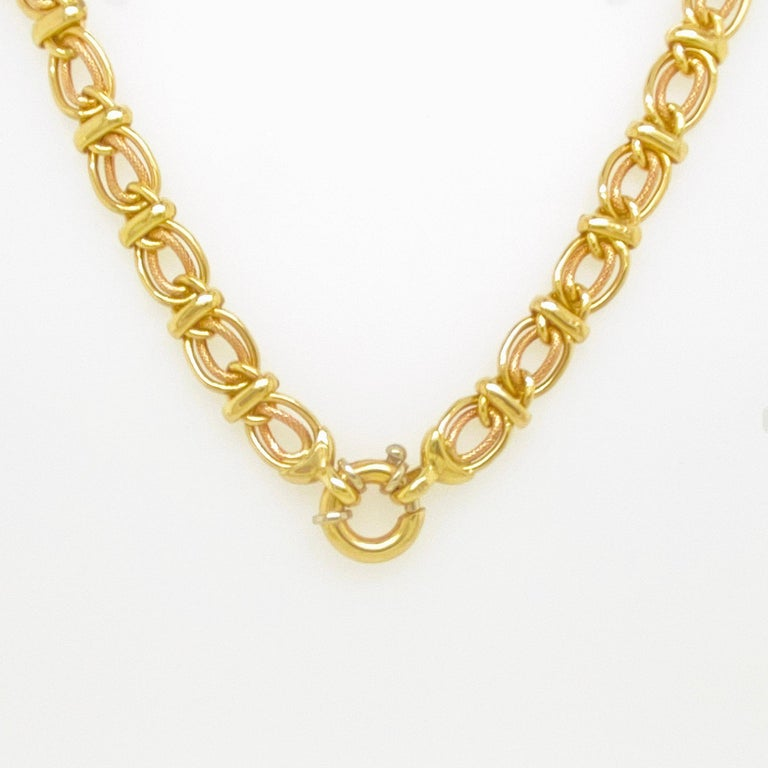 Double Link Choker Chain Necklace, 14 Karat Yellow Gold, Sailor's Knot In Excellent Condition For Sale In Austin, TX