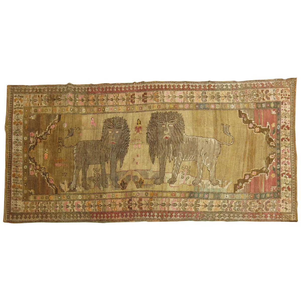 Double Lion Vintage Turkish Gallery Size Runner