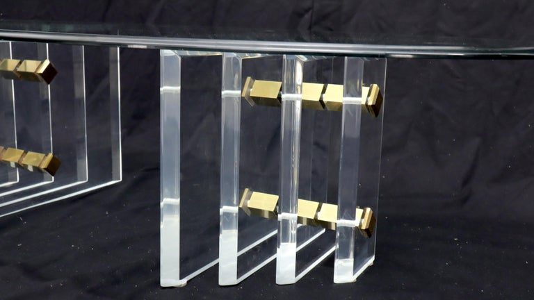 Double Lucite Pedestal Oval Glass Top Coffee Table For Sale 3