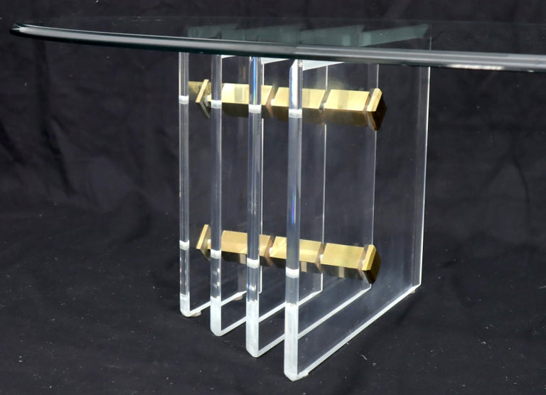 Double Lucite Pedestal Oval Glass Top Coffee Table For Sale 4