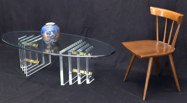 Mid-Century Modern Lucite and machined brass