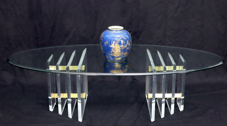 Double Lucite Pedestal Oval Glass Top Coffee Table In Good Condition For Sale In Rockaway, NJ