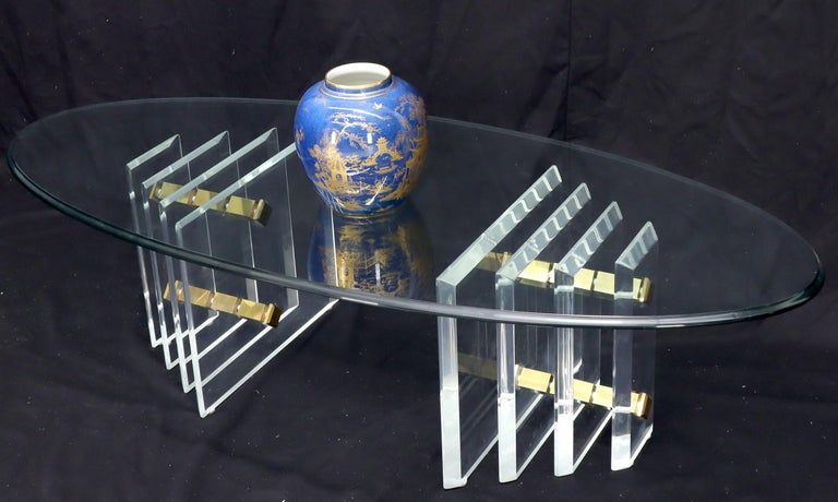 20th Century Double Lucite Pedestal Oval Glass Top Coffee Table For Sale