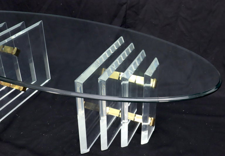 Double Lucite Pedestal Oval Glass Top Coffee Table For Sale 1