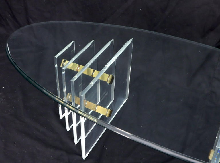 Double Lucite Pedestal Oval Glass Top Coffee Table For Sale 2