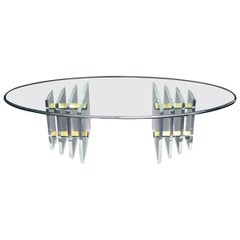Double Lucite Pedestal Oval Glass Top Coffee Table