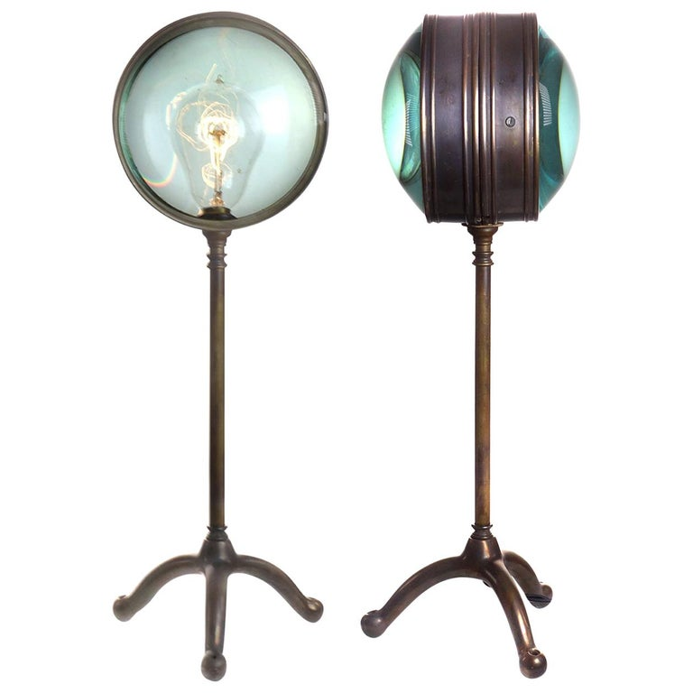 Double Magnifying Glass Desk Lamp For Sale