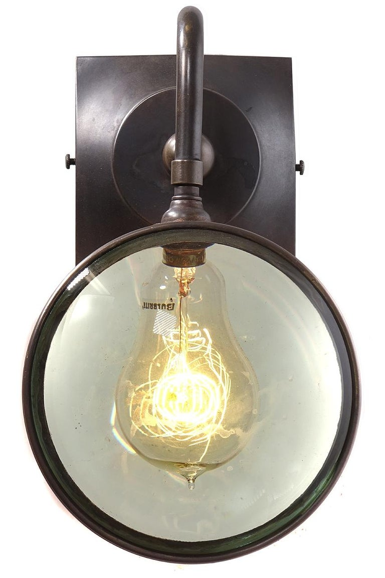 Industrial Double Magnifying Glass Sconce For Sale