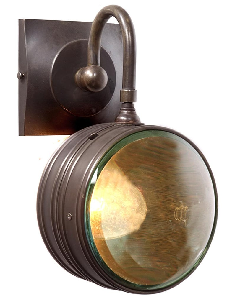 American Double Magnifying Glass Sconce For Sale