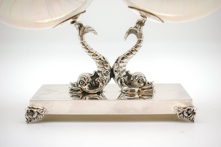 Double Nautilus with Italian Sterling Silver Triton Base In Good Condition For Sale In New York, NY