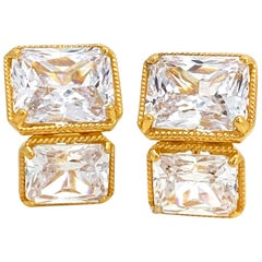 Double Octagon Faux Diamond Vermeil Earrings