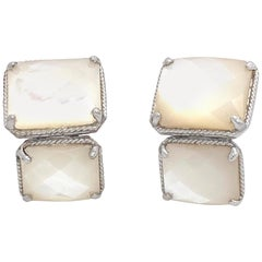 Double Octagon Mother of Pearl Sterling Silver Earrings