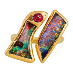 Double Opal Ring in Solid 22 and 18 Yellow Karat Gold with Spinel
