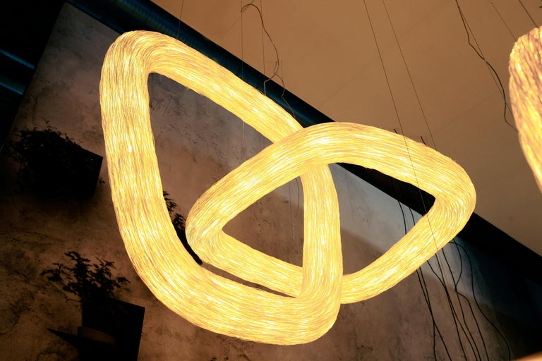 Thai Double Orbit by Ango, Handcrafted Lighting Design Piece For Sale