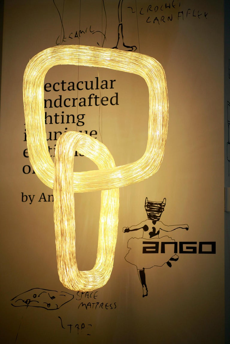 Hand-Woven Double Orbit by Ango, Handcrafted Lighting Design Piece For Sale