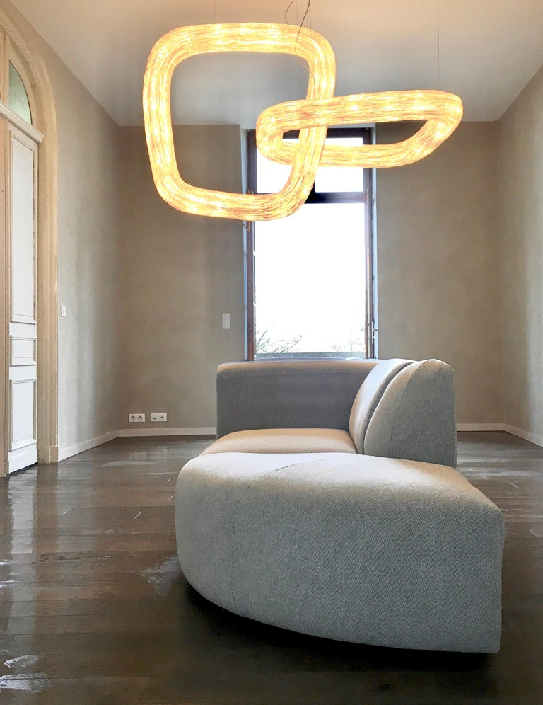 Rattan Double Orbit by Ango, Handcrafted Lighting Design Piece For Sale