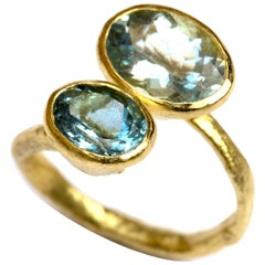 Double Oval Aquamarine 18 Karat Gold Textured Ring Handmade by Disa Allsopp