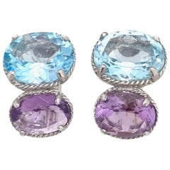 Double Oval Blue Topaz and Amethyst Earrings