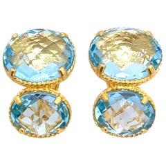 Double Oval Blue Topaz Earrings