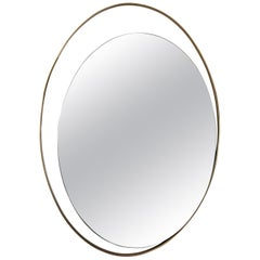 Double Oval Mirror with Offset Brass Frame
