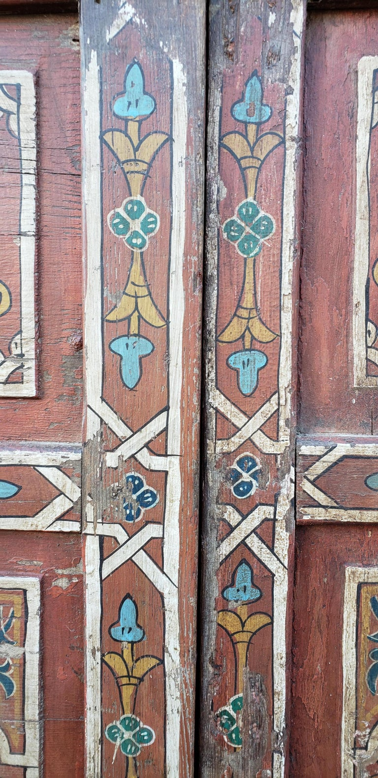 Carved Double Panel Moroccan Multi-Color Wooden Door, 23ND33 For Sale