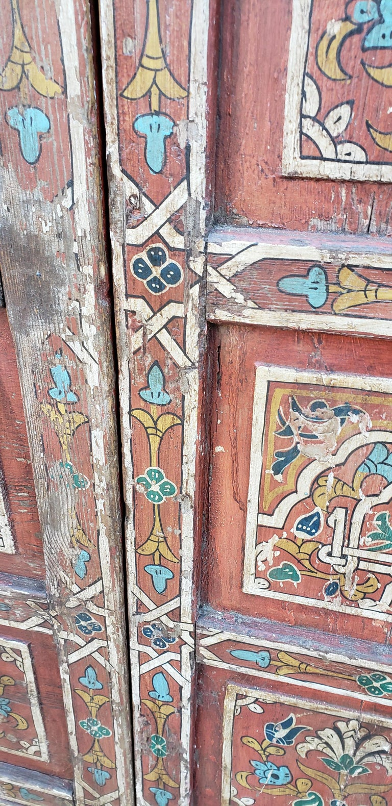 Early 20th Century Double Panel Moroccan Multi-Color Wooden Door, 23ND33 For Sale