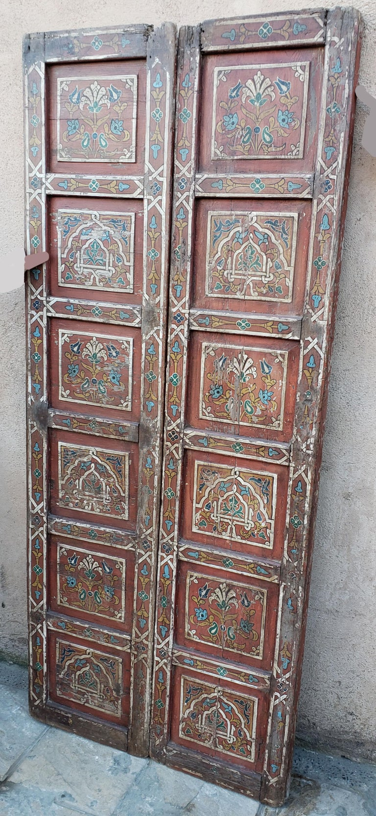 Double Panel Moroccan Multi-Color Wooden Door, 23ND33 For Sale 1