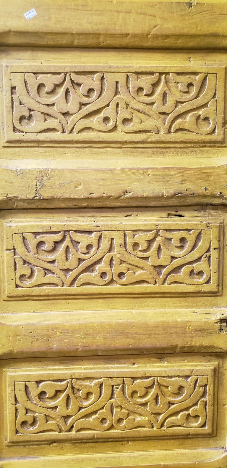 Carved Double Panel Moroccan Wooden Door, Yellow 23MD39 For Sale