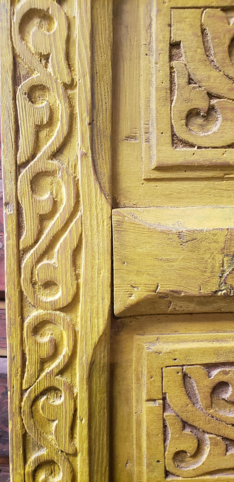 Double Panel Moroccan Wooden Door, Yellow 23MD39 In Good Condition For Sale In Orlando, FL