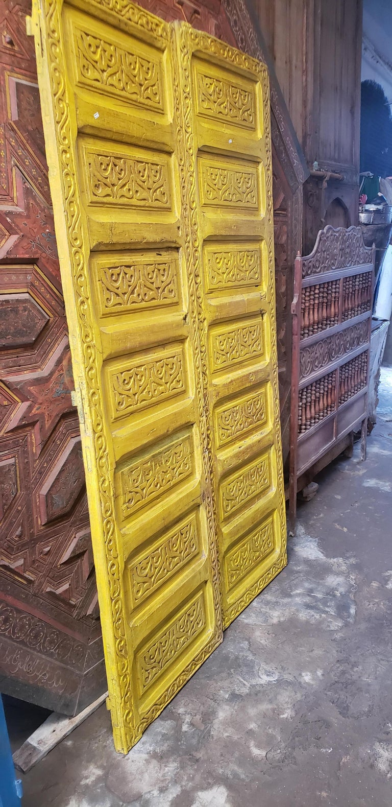 Double Panel Moroccan Wooden Door, Yellow 23MD39 For Sale 1