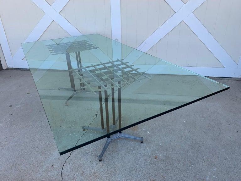 Metal Double Pedestal Dining Table by Robert Josten For Sale