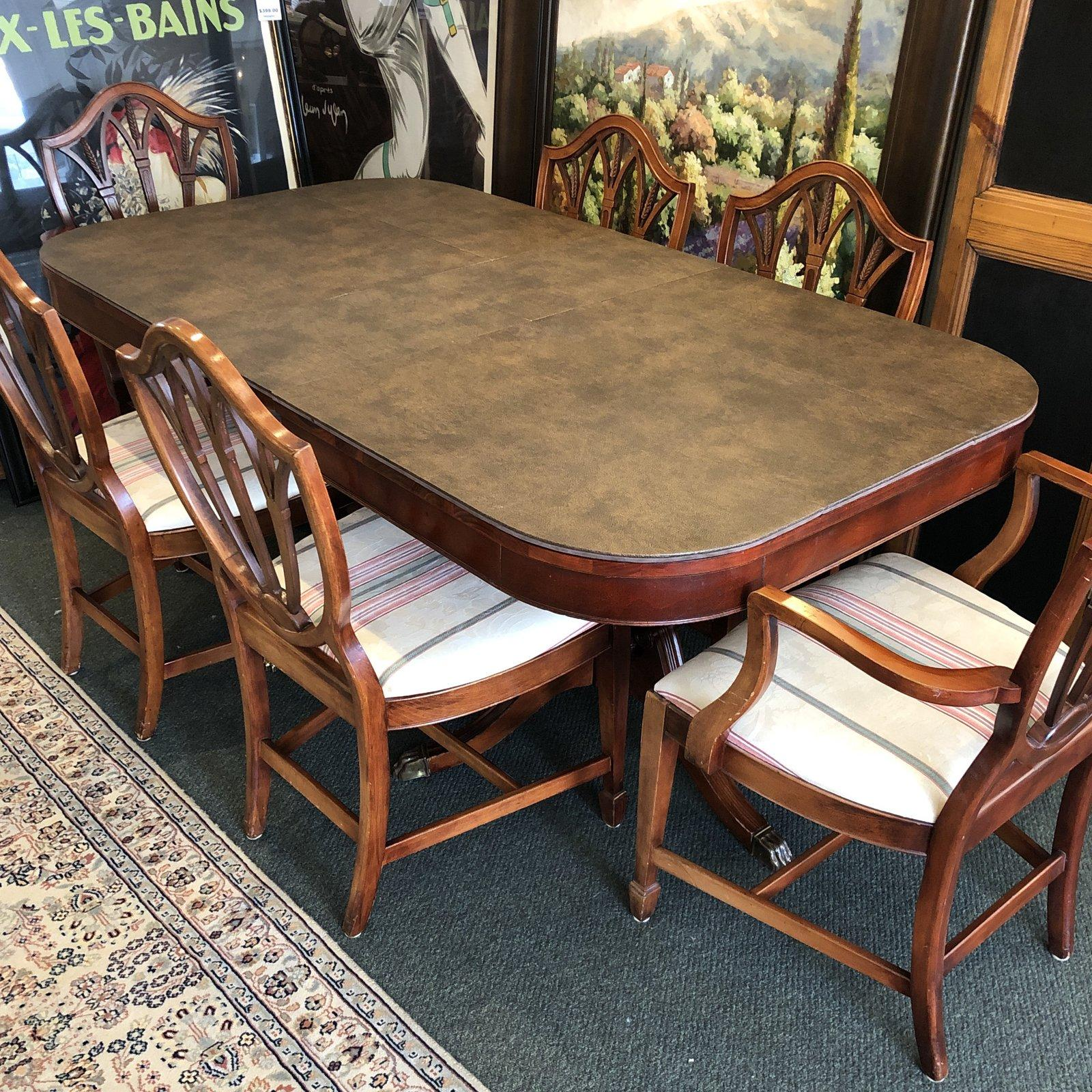 Double Pedestal Dining, Table and Six Shield Back Chairs