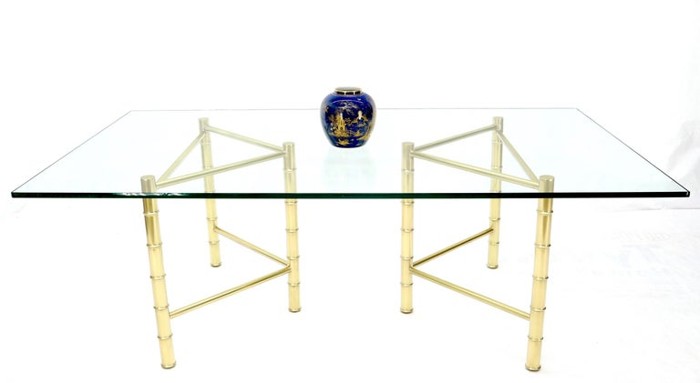Double Pedestal Faux Brass Bamboo Glass Top Dining Conference Table For Sale 3