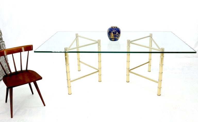 Double Pedestal Faux Brass Bamboo Glass Top Dining Conference Table For Sale 4