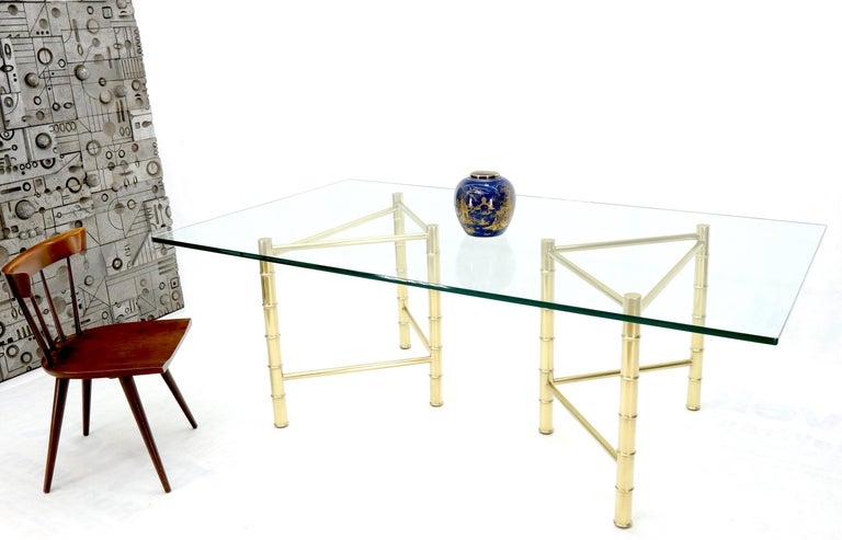 Mid-Century Modern attributed to Mastercraft faux solid brass bamboo bases dining conference table.