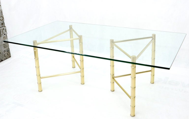 Mid-Century Modern Double Pedestal Faux Brass Bamboo Glass Top Dining Conference Table For Sale