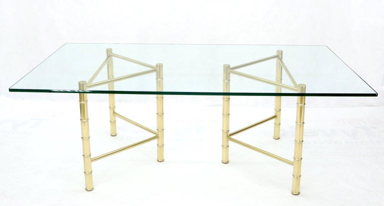 American Double Pedestal Faux Brass Bamboo Glass Top Dining Conference Table For Sale